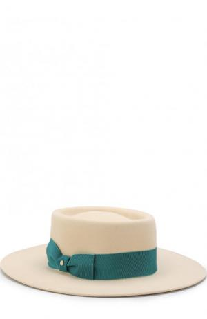 Фетровая шляпа с лентой Inverni. Цвет: кремовый