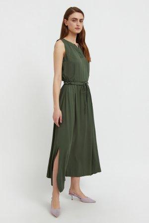Платье макси без рукавов Finn-Flare. Цвет: темно-зеленый