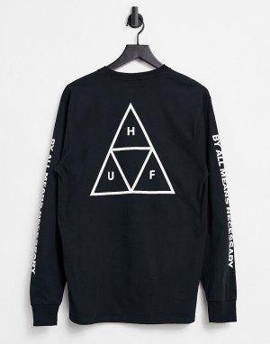 Черная футболка с тройными треугольниками Essentials-Черный цвет HUF