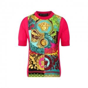 Пуловер из смеси шелка и хлопка Versace. Цвет: розовый