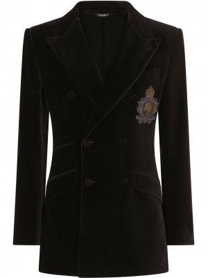 Двубортный пиджак с бархатным эффектом Dolce & Gabbana. Цвет: черный