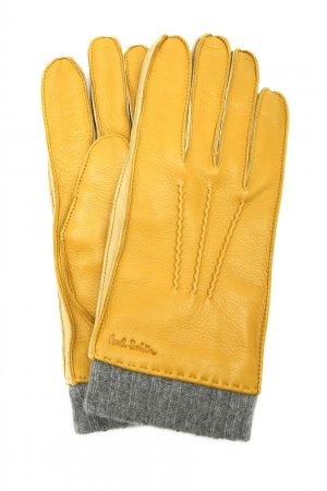 Желтые перчатки из кожи PAUL SMITH. Цвет: желтый