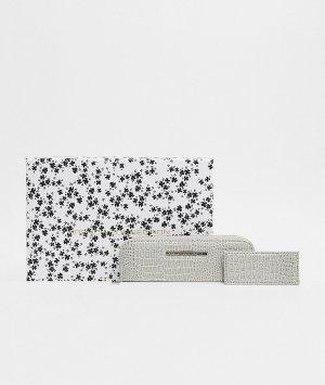 Серый лакированный набор из кошелька и кредитницы с эффектом крокодиловой кожи French Connection