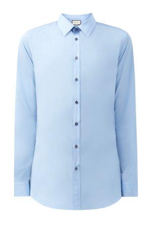 Рубашка из хлопкового поплина с контрастными пуговицами GUCCI. Цвет: голубой