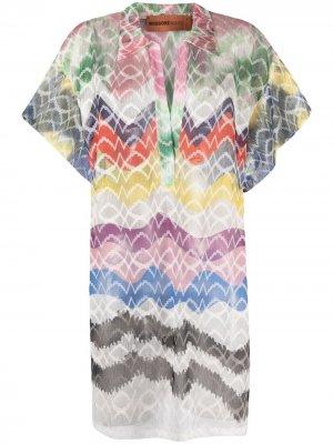Пляжное платье-туника с вышивкой Missoni. Цвет: зеленый