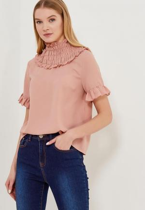 Блуза LOST INK RUFFLE NECK BLOUSE. Цвет: розовый