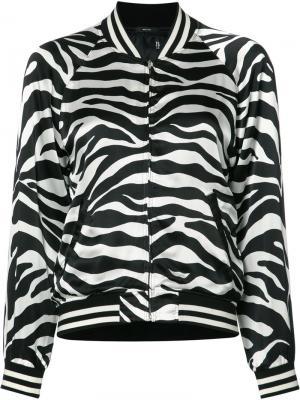 Куртка-бомбер с рисунком под зебру R13. Цвет: чёрный