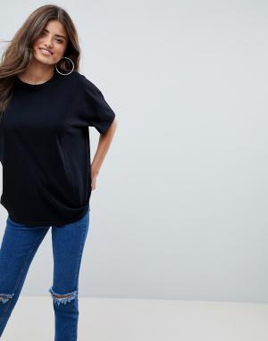 Черная oversize-футболка с заниженной линией плеч ASOS DESIGN. Цвет: черный