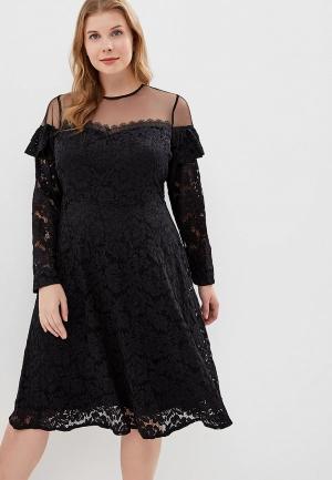 Платье LOST INK PLUS SKATER DRESS IN LACE. Цвет: черный
