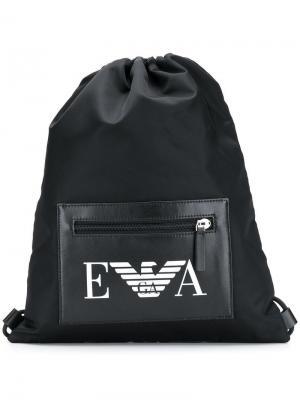 Спортивная сумка с логотипом Emporio Armani. Цвет: черный