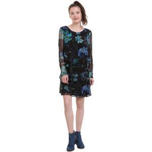 Платье из вуали с цветочным принтом, укороченное, расклешенного покроя DESIGUAL. Цвет: черный наб. рисунок