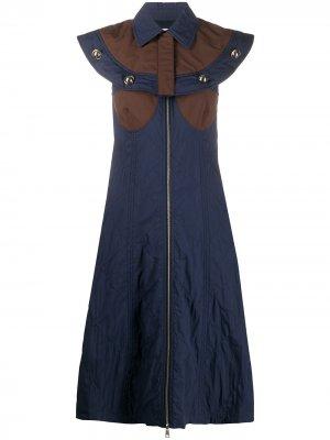 Платье миди 2 1952 с кейпом Moncler. Цвет: синий