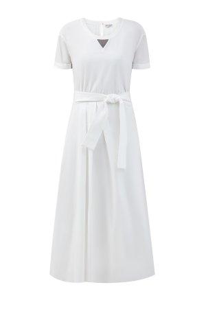 Платье из хлопкового поплина в стиле спортшик BRUNELLO CUCINELLI. Цвет: белый