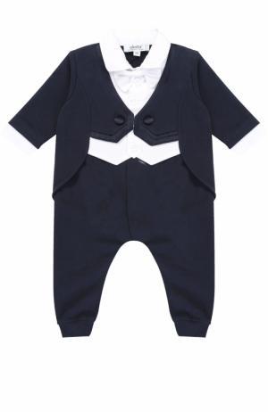Хлопковая пижама с контрастной отделкой и декоративным галстуком-бабочкой Aletta. Цвет: синий