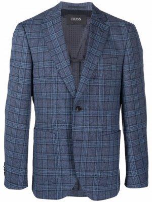 Однобортный пиджак в клетку Boss Hugo. Цвет: синий