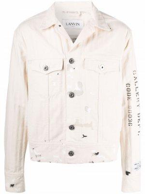 Джинсовая куртка с принтом LANVIN. Цвет: нейтральные цвета