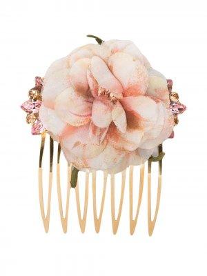 Гребень с цветочным декором Dolce & Gabbana. Цвет: золотистый