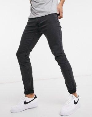 Облегающие эластичные джинсы выбеленного черного цвета Malone-Черный Lee