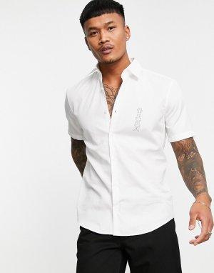 Белая рубашка узкого кроя с короткими рукавами и контрастным логотипом Ermino-Белый HUGO