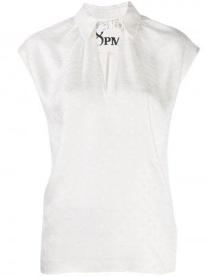 Блузка с заклепками 8pm. Цвет: белый