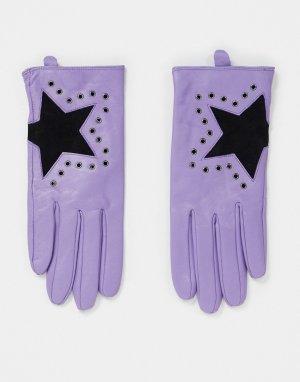 Сиреневые кожаные перчатки со звездочками -Фиолетовый цвет House of Holland