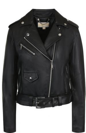 Кожаная куртка с поясом и косой молнией MICHAEL Kors. Цвет: черный