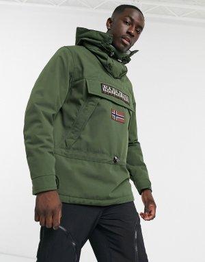 Куртка без застежки цвета хаки Skidoo-Зеленый Napapijri