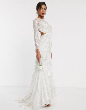 Свадебное платье с вышивкой и декоративной отделкой -Белый ASOS EDITION