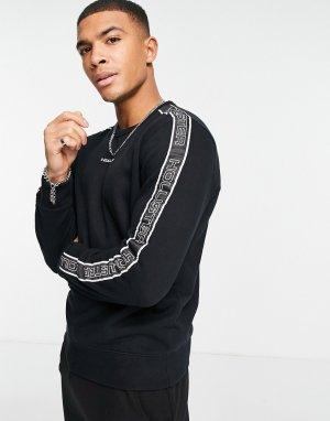 Черный свитшот с логотипом на груди и тесьмой рукавах в стиле 90-х -Черный цвет Hollister