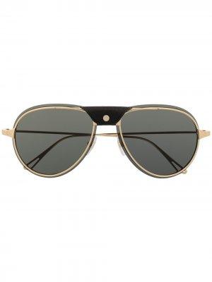 Солнцезащитные очки-авиаторы Cartier Eyewear. Цвет: серый