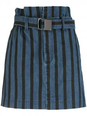 Джинсовая юбка в полоску с поясом Andrea Bogosian. Цвет: синий