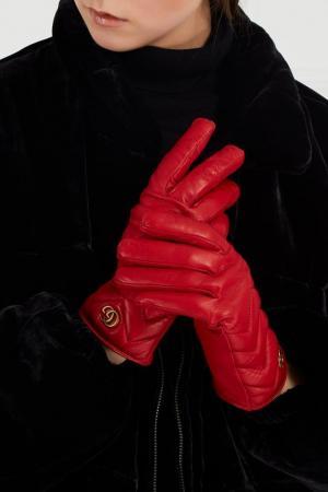 Красные кожаные перчатки Gucci. Цвет: красный