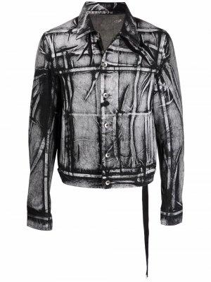 Джинсовая куртка с эффектом потертости Rick Owens DRKSHDW. Цвет: белый