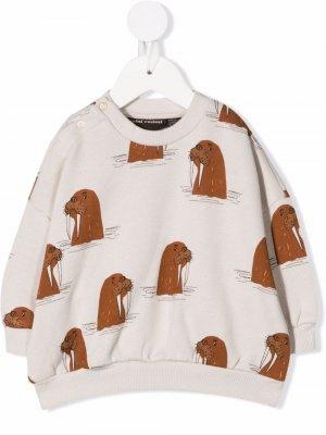 Walrus-print crew neck sweatshirt Mini Rodini. Цвет: серый