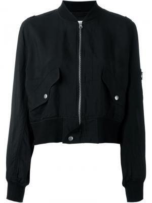 Укороченная куртка-бомбер Mm6 Maison Margiela. Цвет: синий