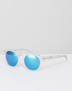 Круглые солнцезащитные очки в прозрачной оправе Levis. Цвет: очистить