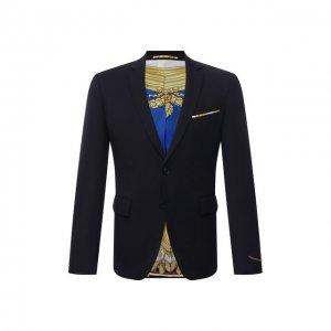 Шерстяной пиджак Versace. Цвет: синий