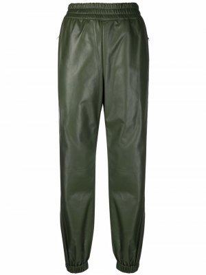 Elasticated leather joggers Alexander McQueen. Цвет: зеленый
