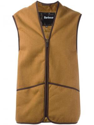 Двухцветная жилетка на молнии Barbour. Цвет: телесный