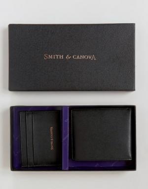 Подарочный набор из кожаных классических бумажника и кредитницы Smith And Canova. Цвет: черный