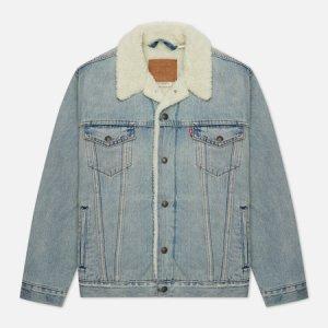 Мужская джинсовая куртка Levis Type III Sherpa Trucker Levi's. Цвет: голубой