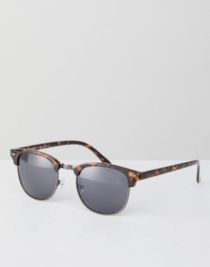 Квадратные солнцезащитные очки в коричневой оправе New Look. Цвет: коричневый