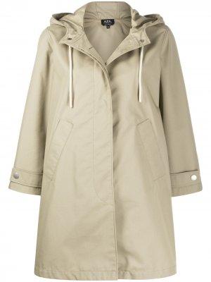 Пальто оверсайз с капюшоном A.P.C.. Цвет: нейтральные цвета
