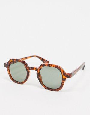 Круглые солнцезащитные очки в черепаховой оправе -Коричневый Jeepers Peepers