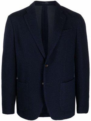Однобортный пиджак с заостренными лацканами Lardini. Цвет: синий