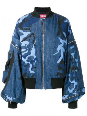 Джинсовая куртка-бомбер с объемными рукавами Diesel Red Tag. Цвет: синий