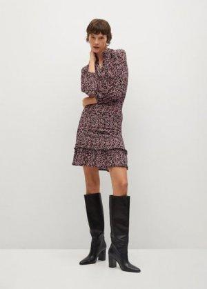 Платье с цветочным принтом и воланом - Rita Mango. Цвет: земляничный