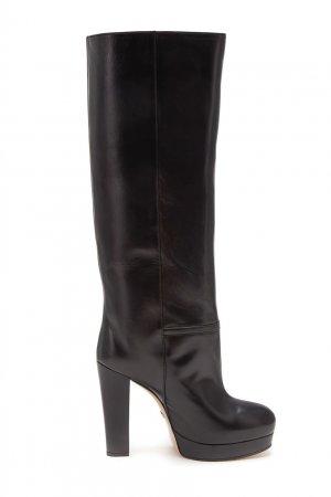 Черные кожаные сапоги Gucci. Цвет: черный