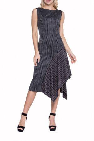Платье Adzhedo. Цвет: серый, чешуйки, клетка