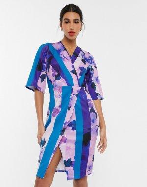 Платье миди с запахом и цветочным принтом -Мульти Closet London